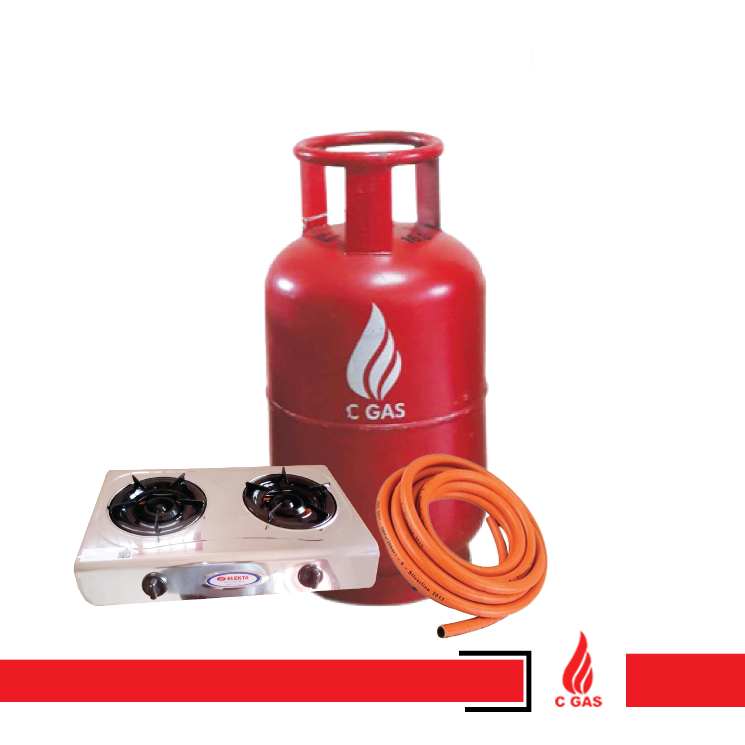 13Kg Gas Full Package (Cylinder, Gas, Pipe, Regulator, Double Burner)